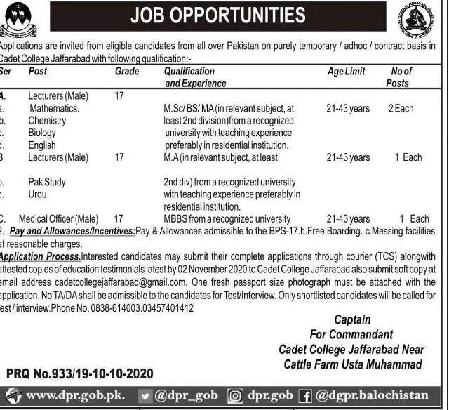 Cadet College Jaffarabad Jobs 2020