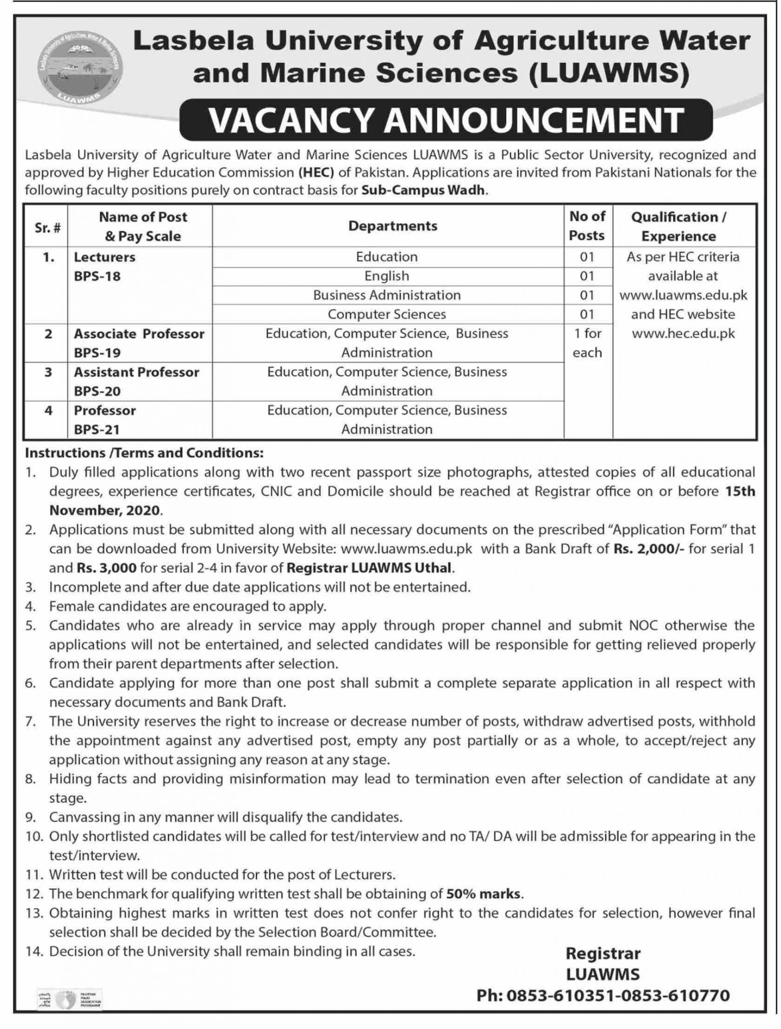 Lasbela University of Agriculture Water & Marine Sciences LUAWMS Jobs 2020