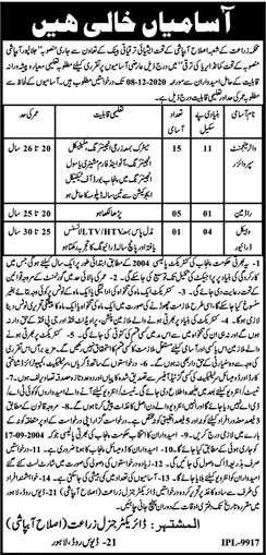 Agriculture Department Lahore Jobs 2020 Latest