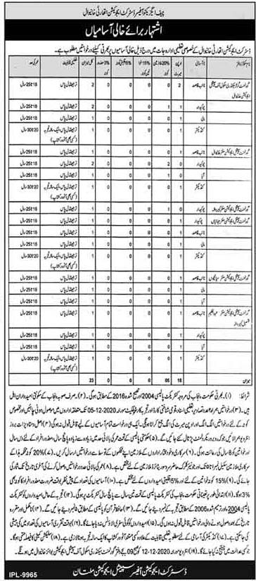 District Education Authority Khanewal Jobs 2020