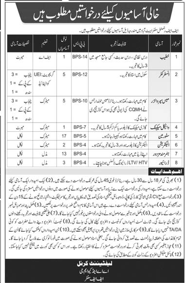 Join Pak Army FF Regimental Center Jobs 2020