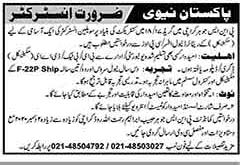Join Pak Navy Instructor Jobs 2020 in