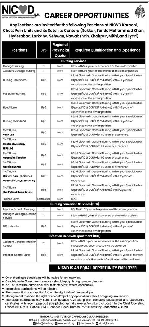 NICVD Jobs November 2020