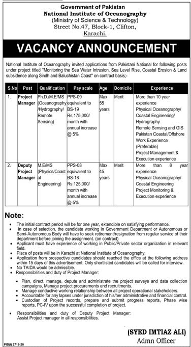 National Institute of Oceanography Jobs 2020