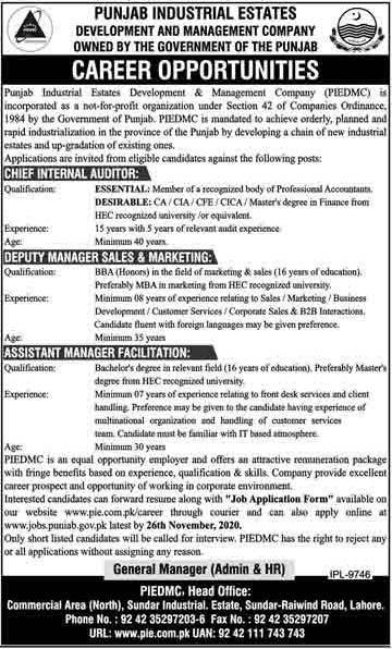 PIEDMC Lahore Jobs 2020