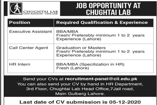 Chughtai Lab Lahore Jobs 2020