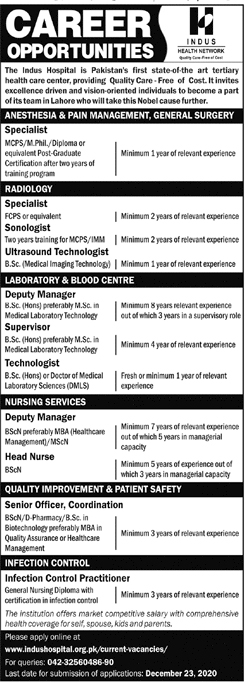 Indus Hospital Lahore Jobs 2020