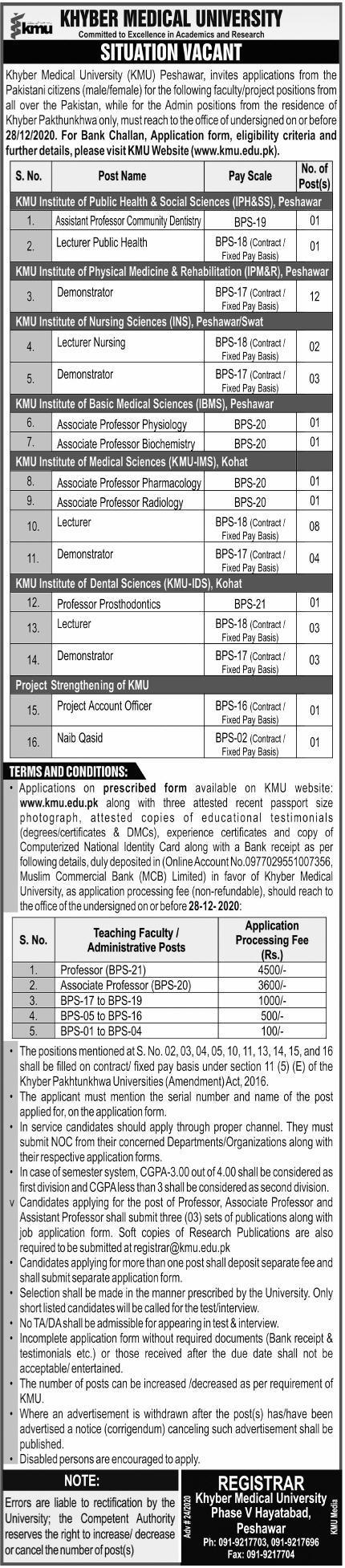Khyber Medical University KMU Jobs 2020