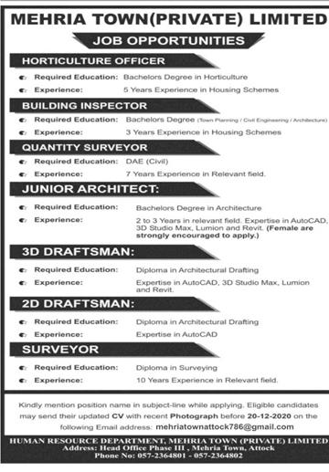 Mehria Town Attock Jobs 2020