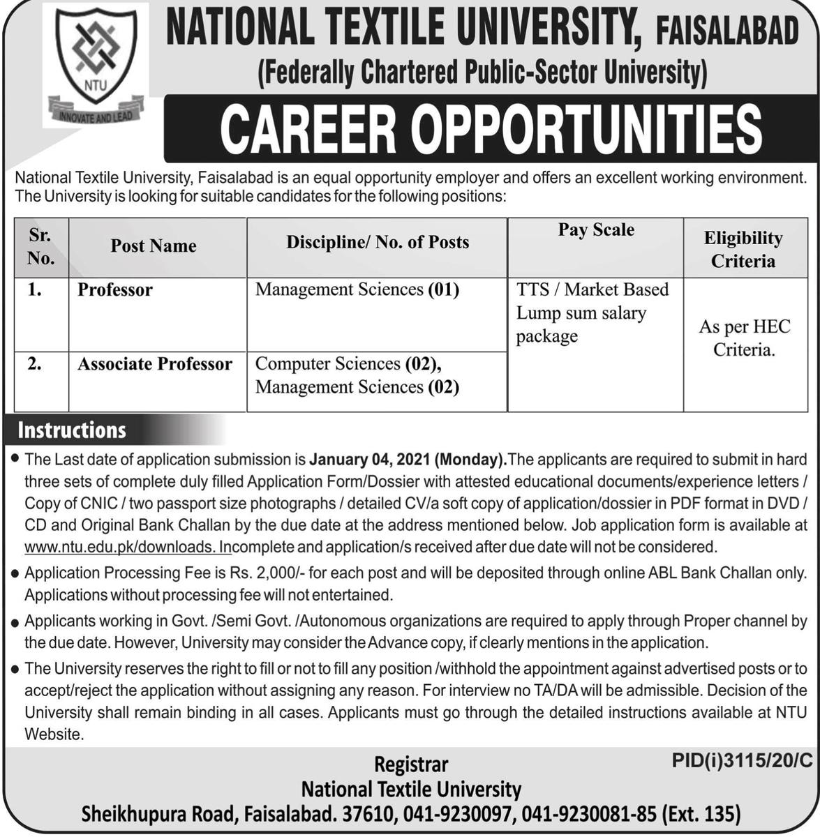 NTU Fsd Jobs 2020