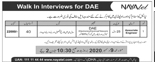 Nayatel Jobs in Rawalpindi for Associate Engineer Latest 2020