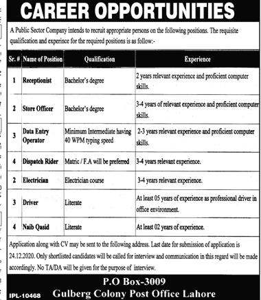 P.O Box-3009 Jobs 2020