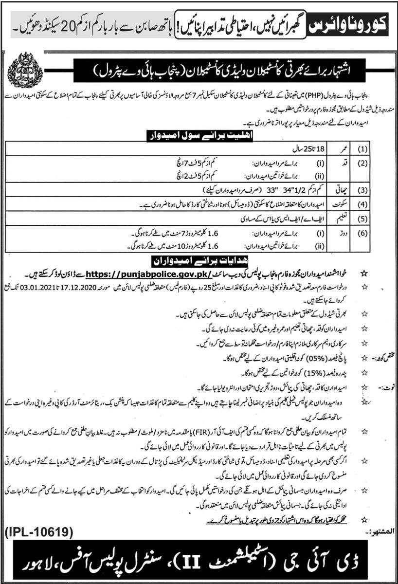 Punjab Highway Patrolling Police Jobs 2020