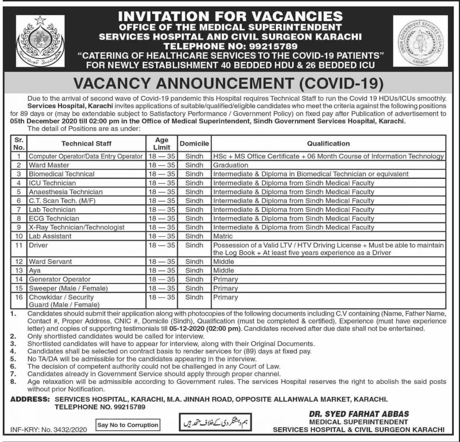 Services Hospital and Civil Surgeon Karachi Jobs 2020