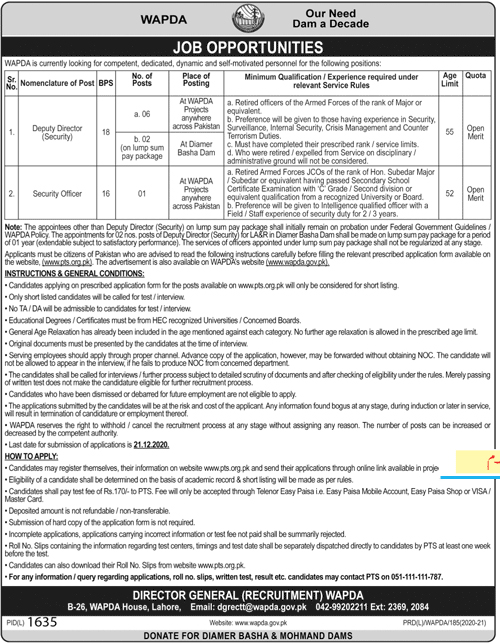 Wapda Jobs in Lahore, PTS Application Form 2020