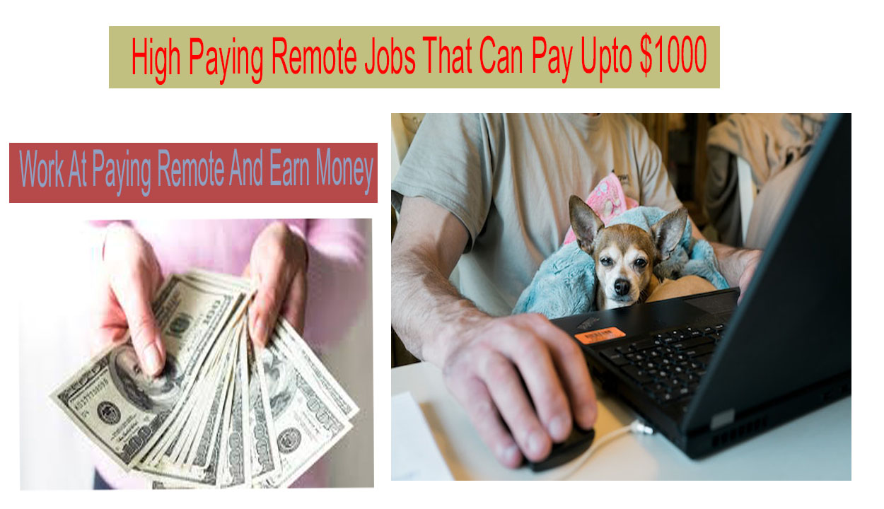 10 High Paying Remote Jobs That Can Pay Upto $1000